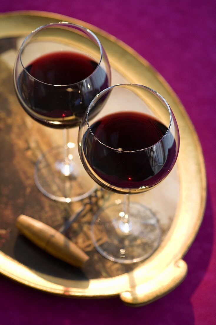 Two Glasses of Red Wine on a Tray