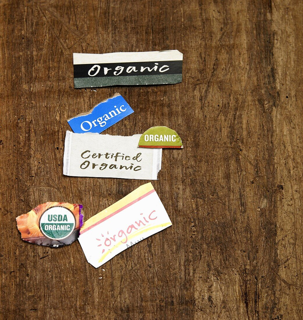 Various Organic Labels on Wood