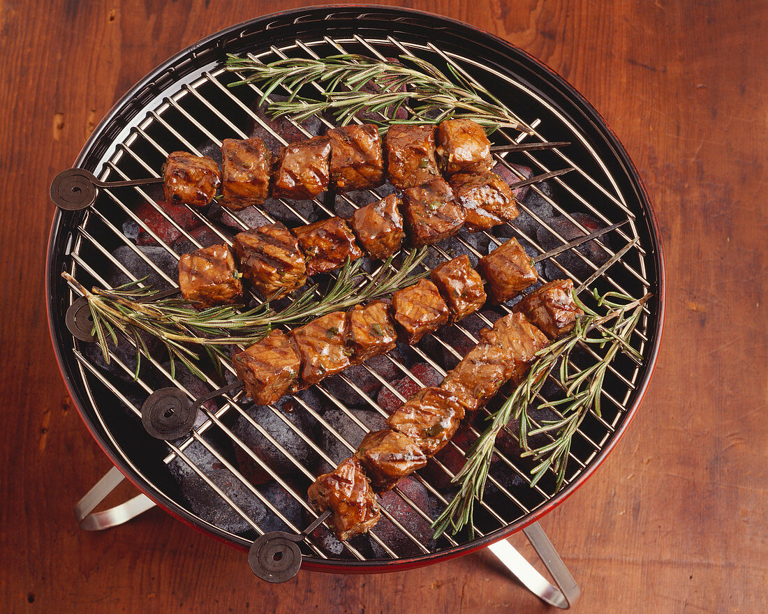 Beef Shish Kabob with Rosemary on Charcoal Grill