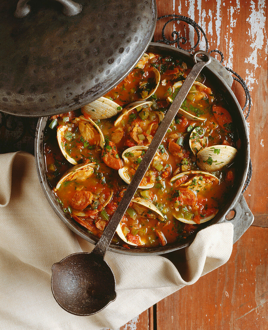 Clam and Pork Stew in Pot; Ladle