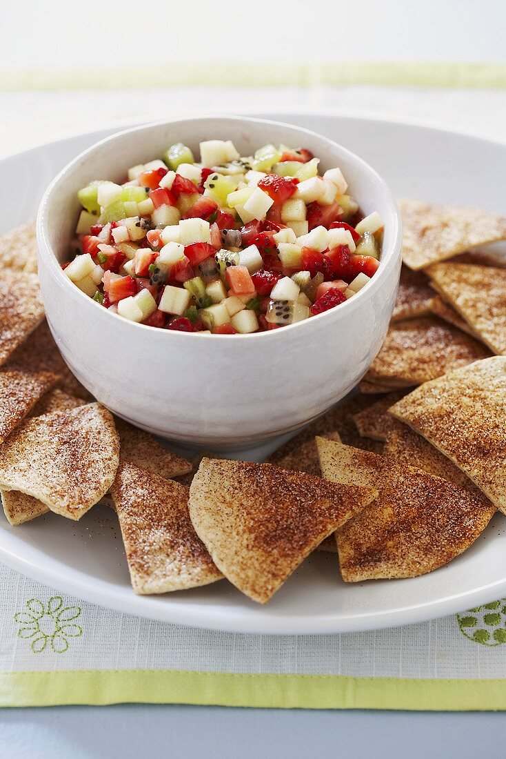Bowl of Fruit Salsa with Chips