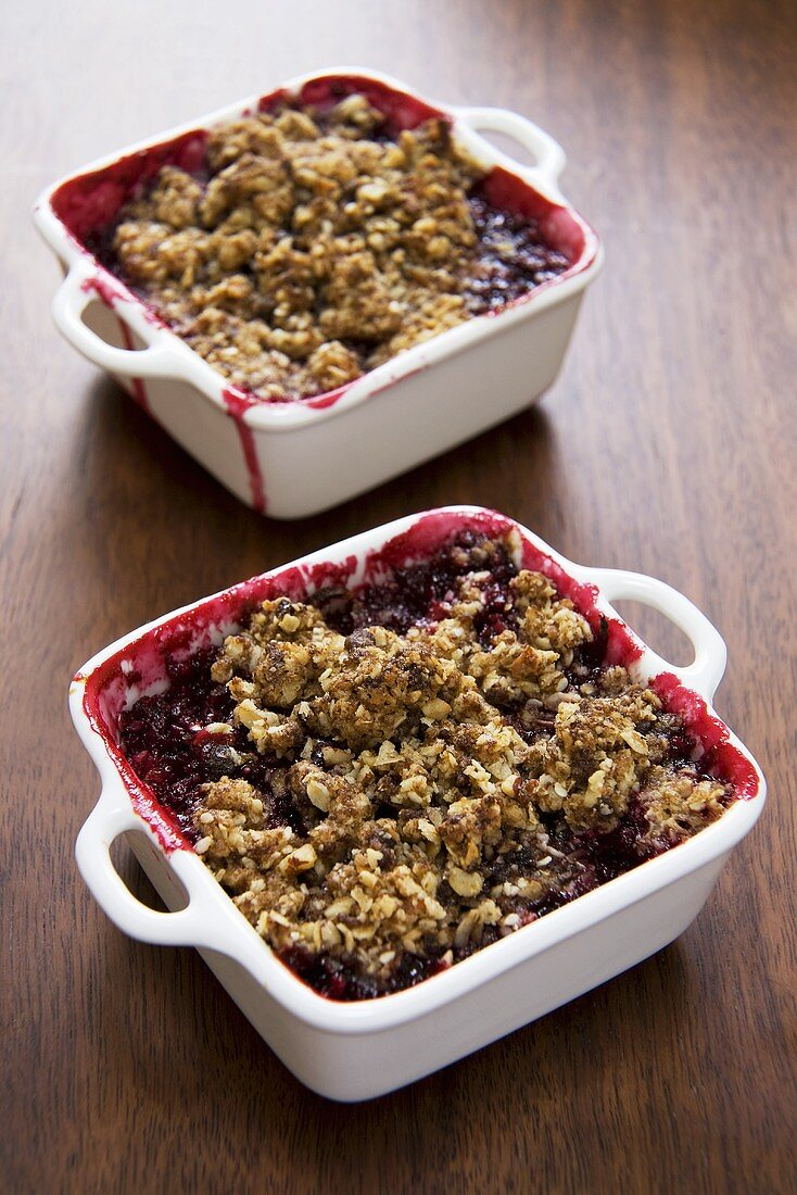 Two Baking Dishes of Plum Crumble