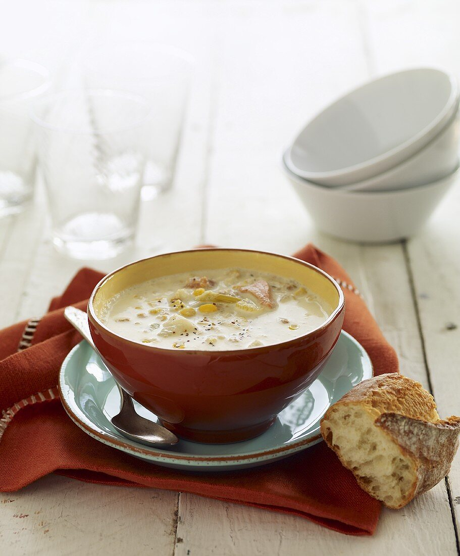 Bowl of Clam Chowder with Bread