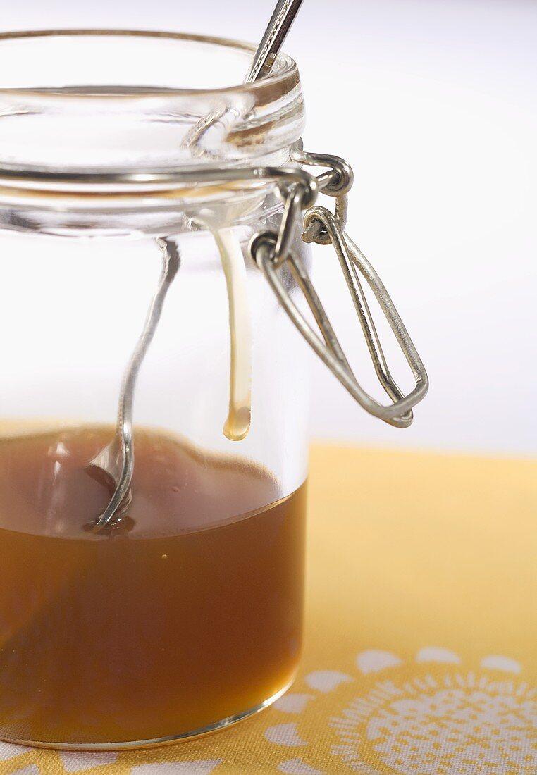 Brown Rice Syrup in Jar; Spoon