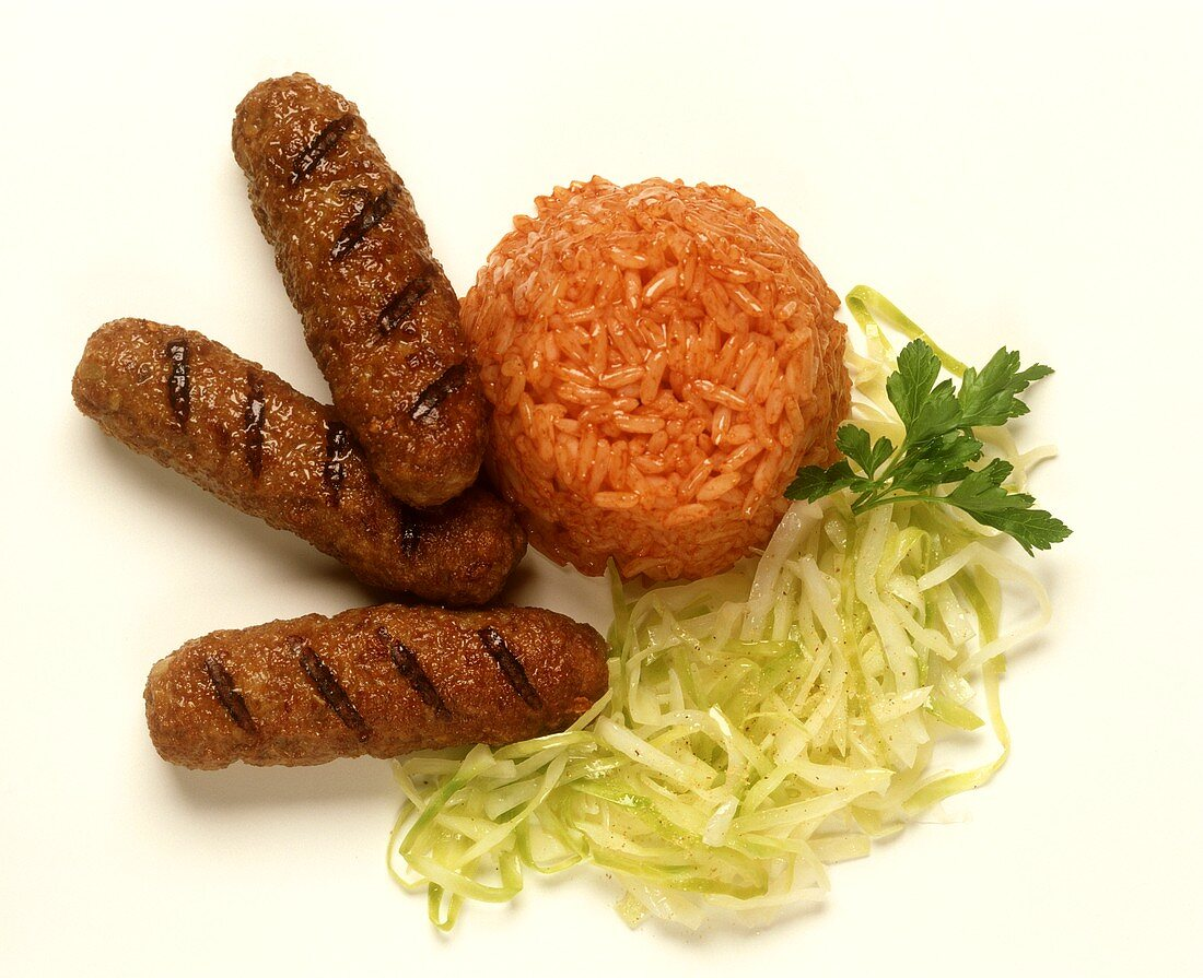 Cevapcici with Coleslaw & Tomato Rice
