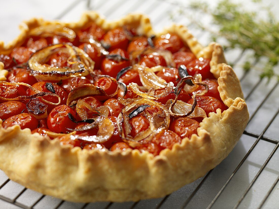 Round Roasted Tomato and Onion Tart on Cooling Rack