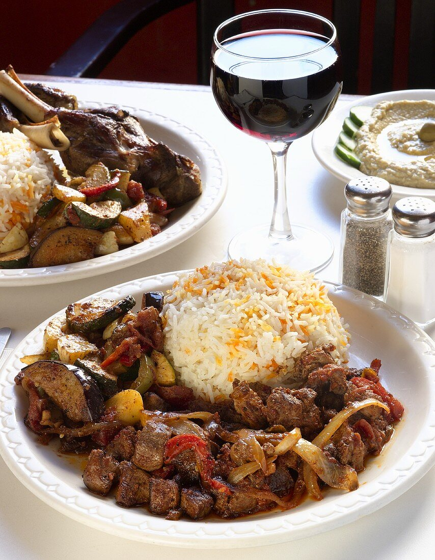 Goat Roti with Rice and Mixed Vegetables