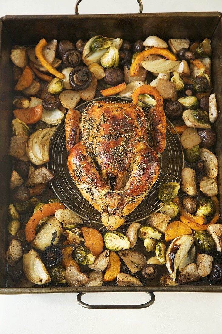 Organic Chicken Roasted with Herbs and Vegetables