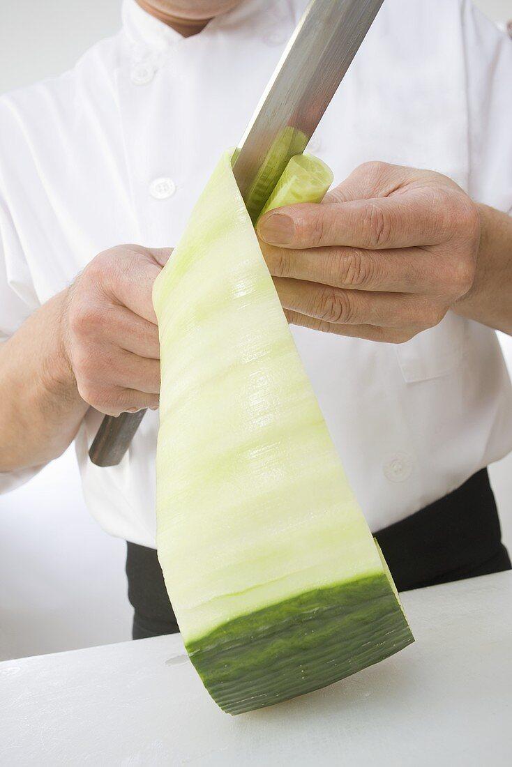 Sushi Chef Cutting Cucumber