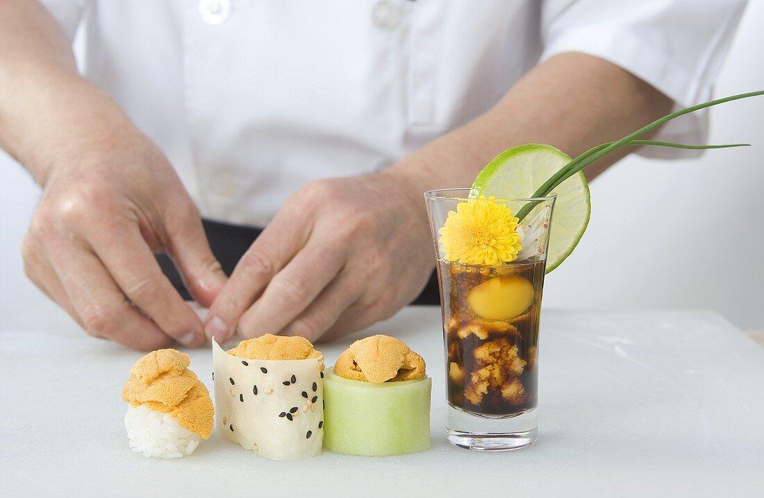 Sushi Chef with Uni Sushi