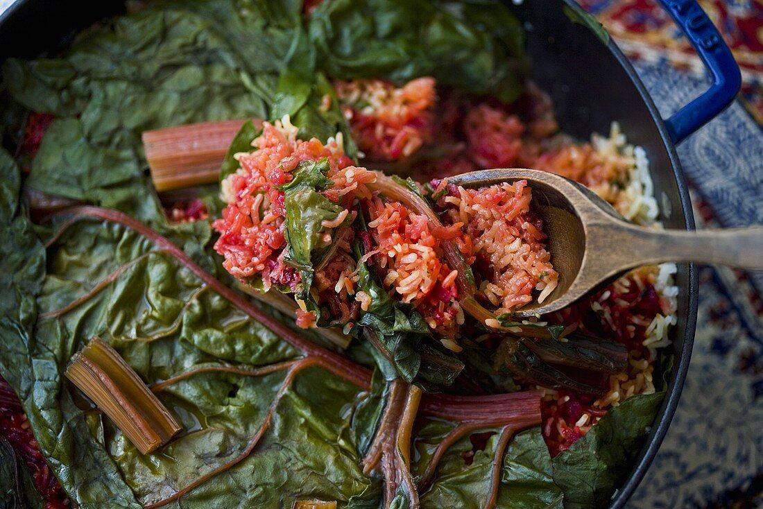 False Machshi; Iraqi Rice Dish with Stew Meat, Beets and Rainbow Chard