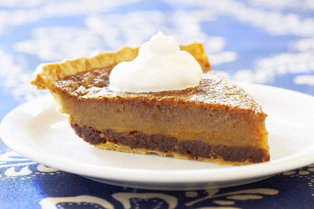 Slice of Jefferson Davis Pie; Spiced Pie with Raisins, Dates and Pecans