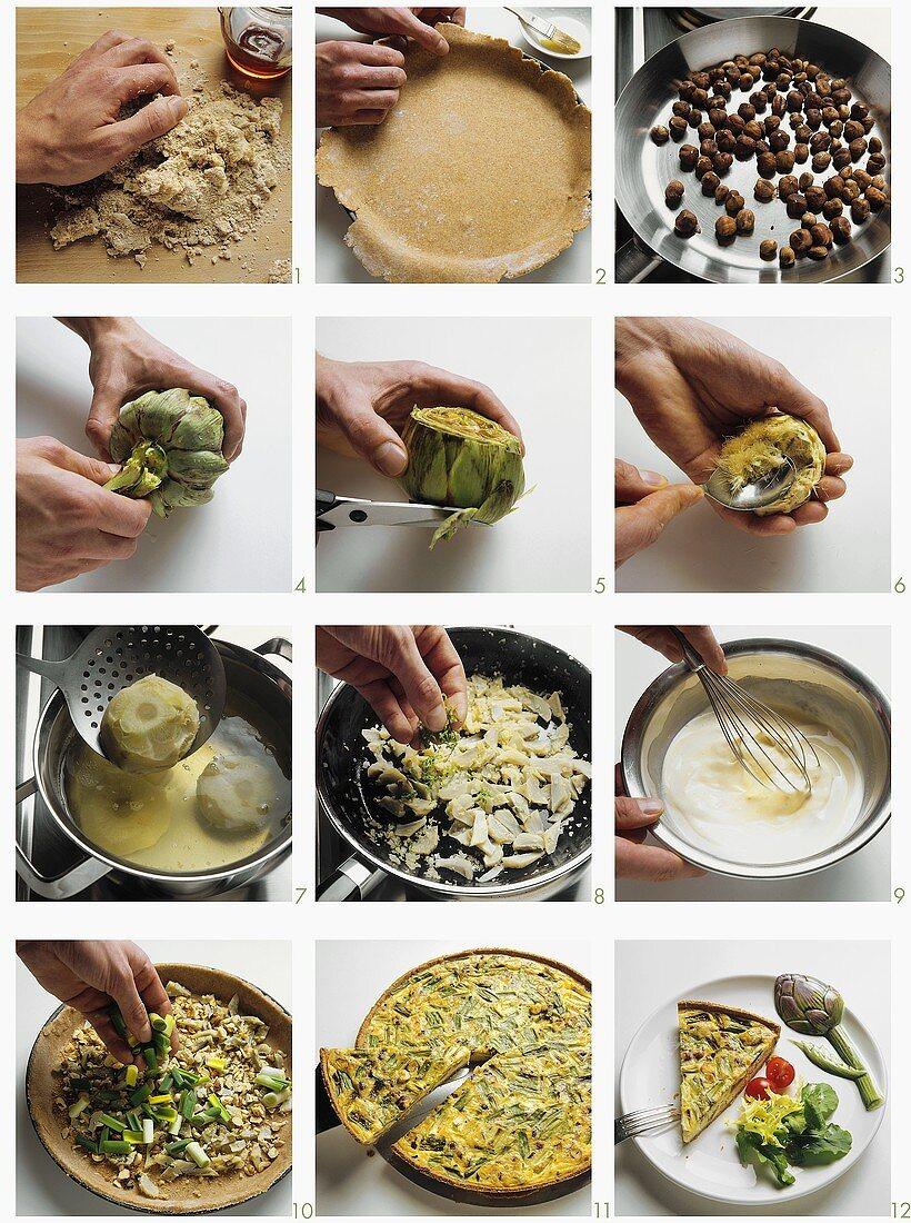Making artichoke quiche