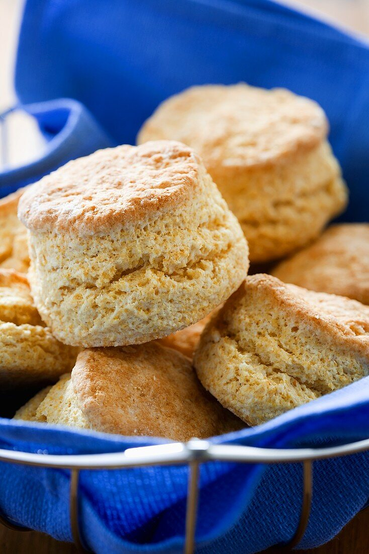 Cornmeal Biscuit in Wire Basket