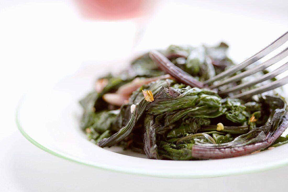 Small Dish of Sauteed Beet Greens
