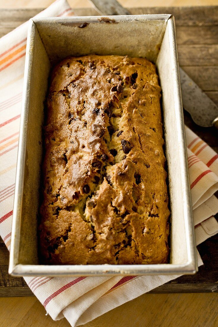 Chocolate Chip Banana Bread in Loaf Pan