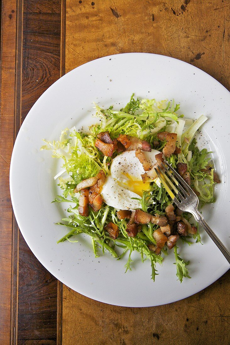Frisee aux Lardons; Frisee Salad with Egg and Bacon