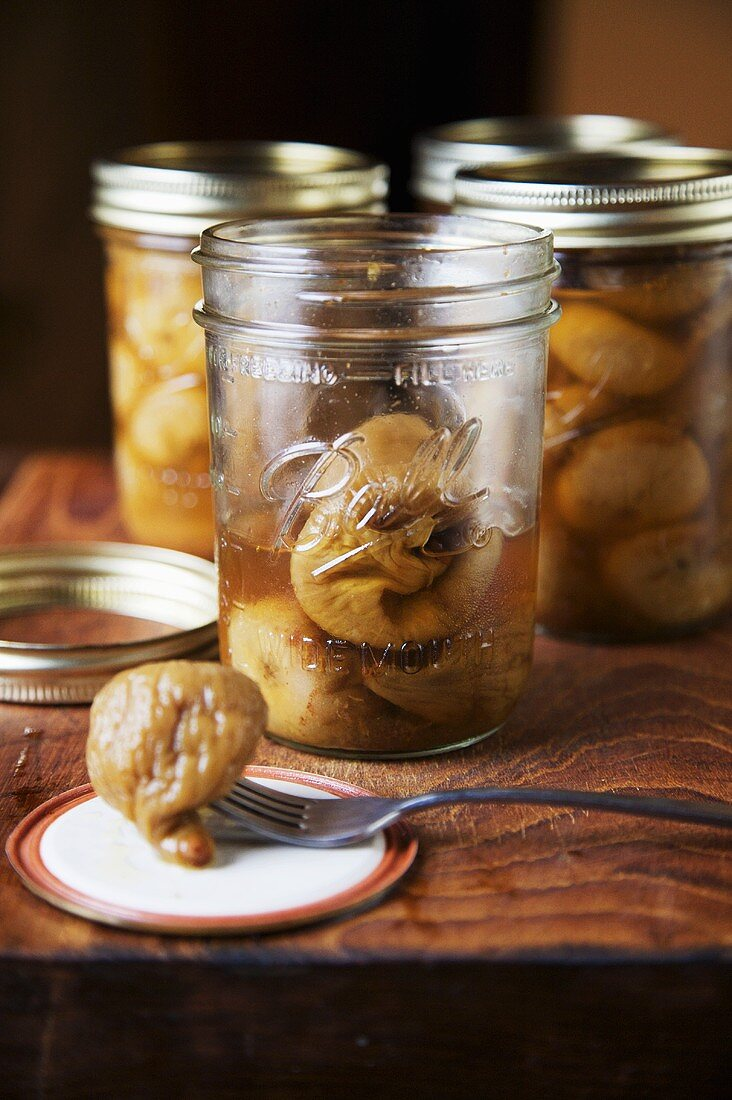 Canned Figs; One on Fork