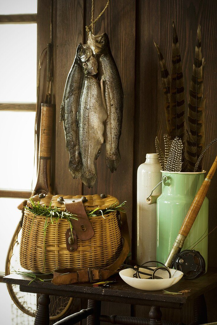 Fresh Caught Trout Hanging in Fishing Cabin