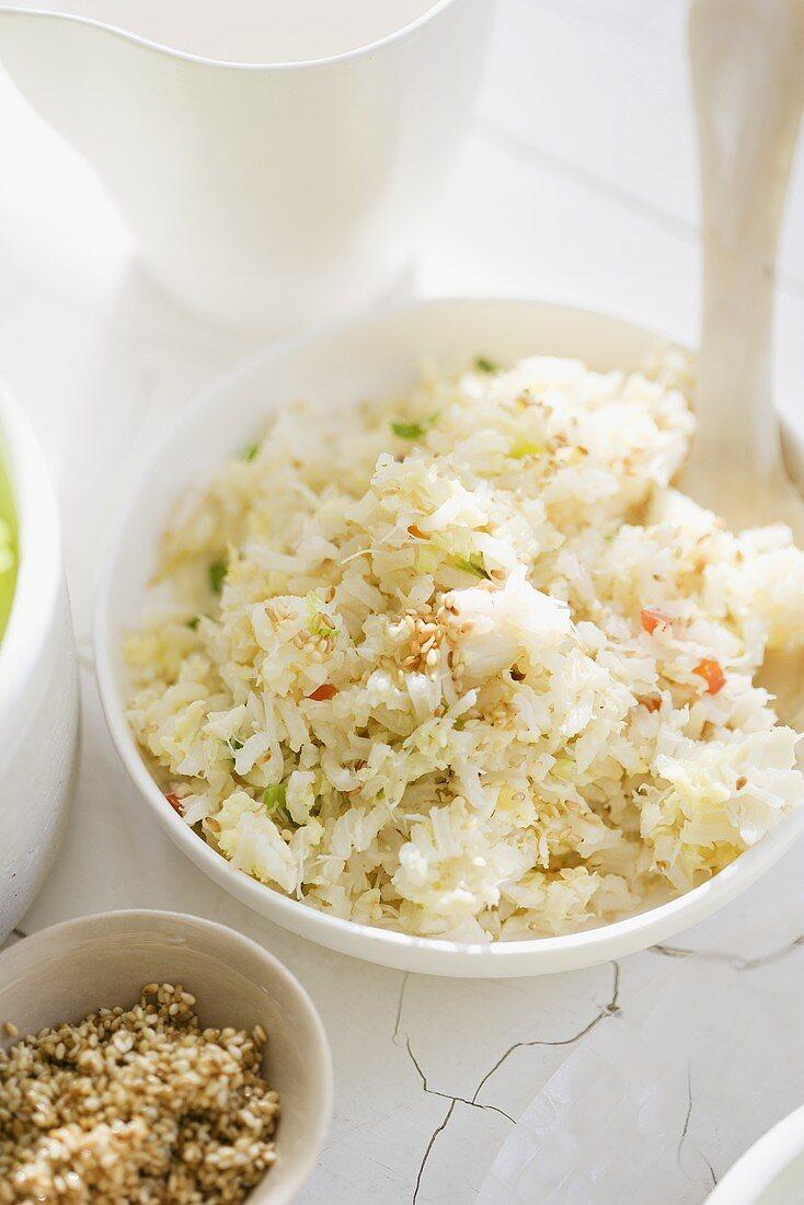Bowl of Shredded Crab Meat Salad
