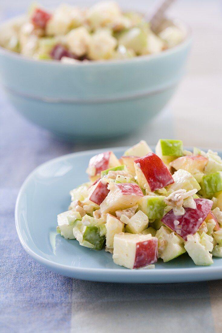 Plate of Waldorf Salad; Serving Bowl of Waldorf Salad