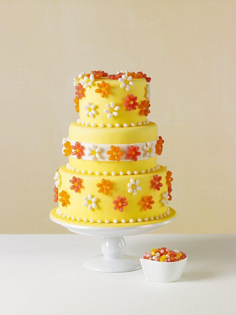 Yellow Jelly Bean Wedding Cake