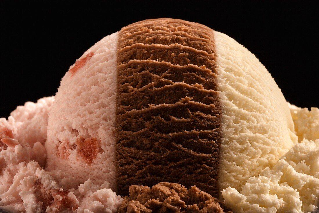 Scoop of Neapolitan Ice Cream