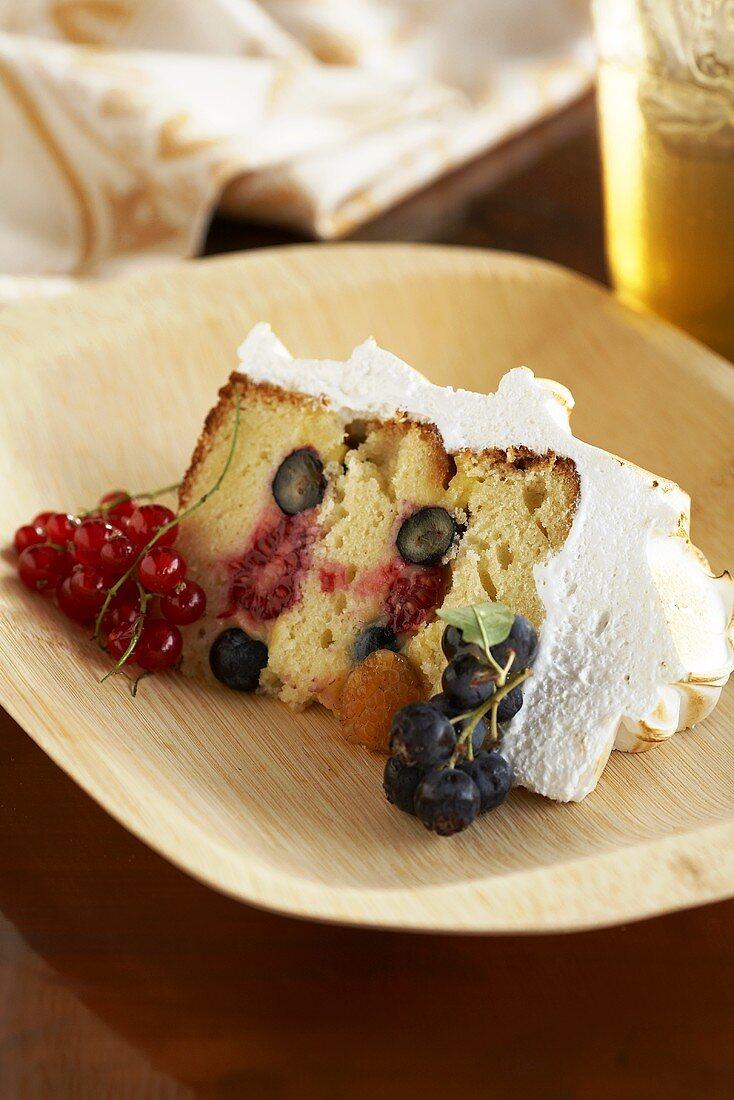 Slice of Meringue Fruit Cake