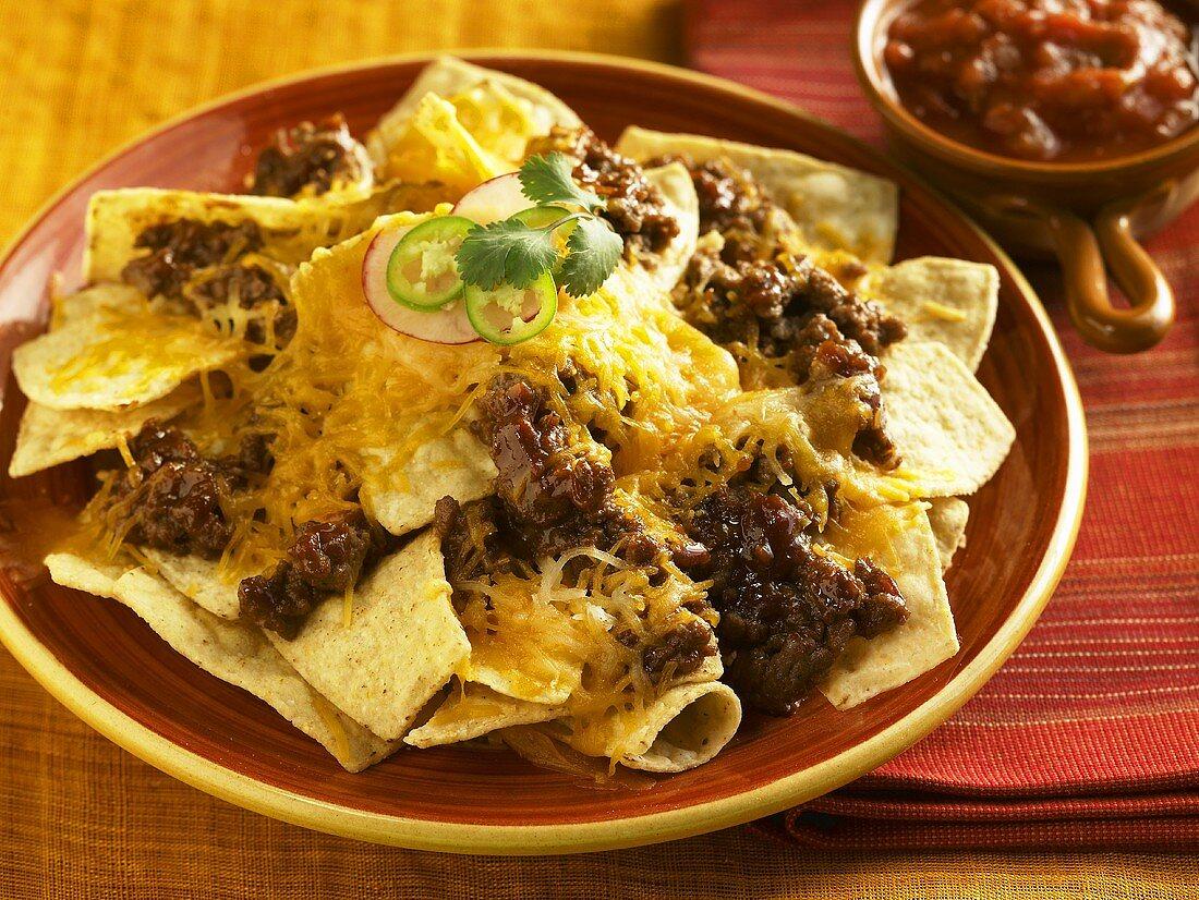 Cheese and Beef Nachos; Salsa