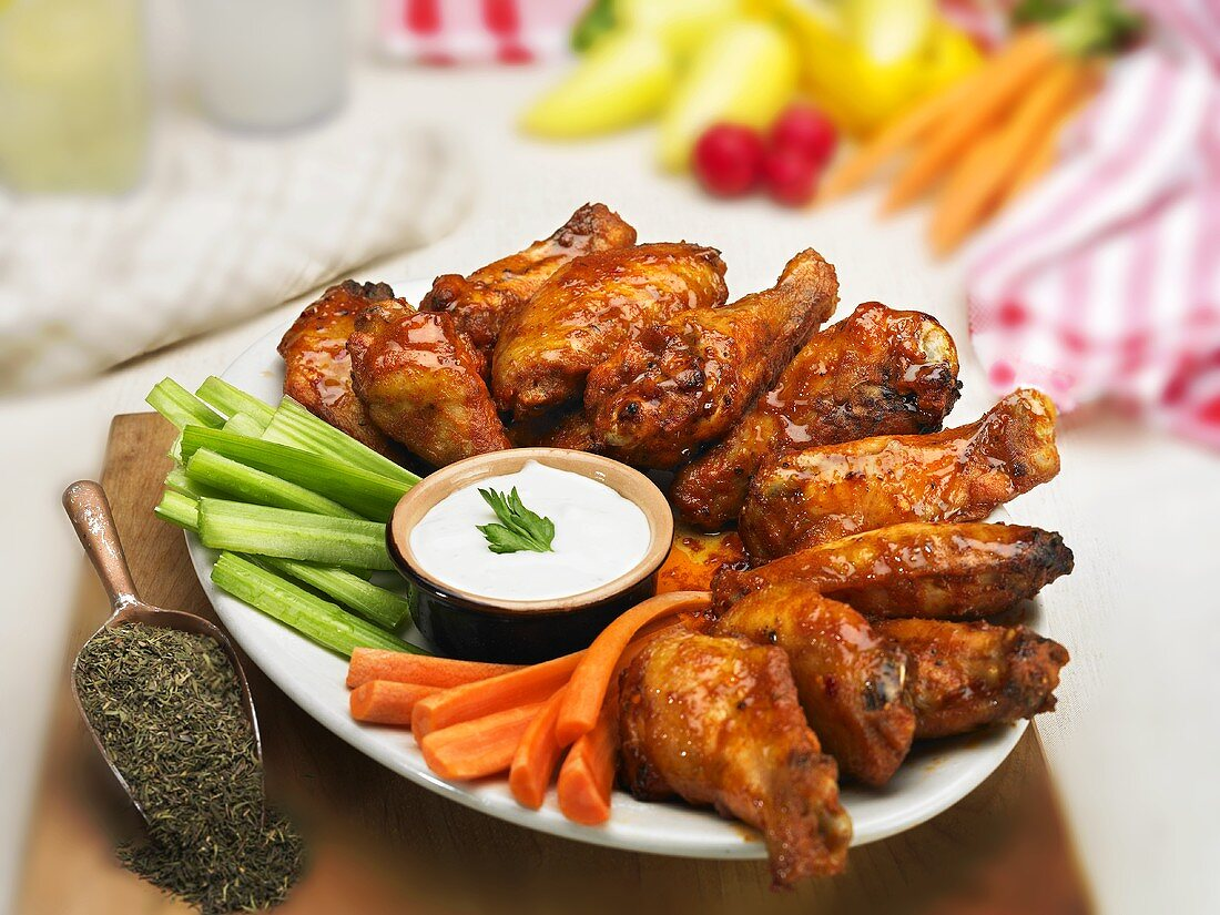 Buffalo Wing Platter with Carrot and Celery Sticks