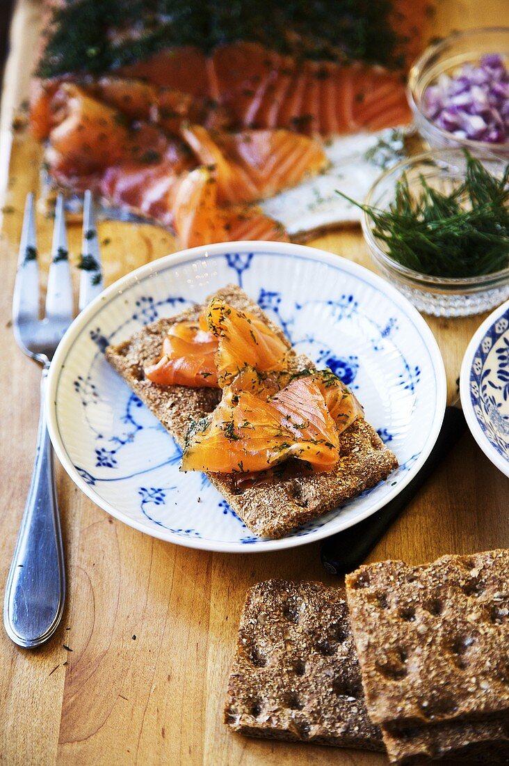 Swedish Gravlax with Swedish Crispy Bread