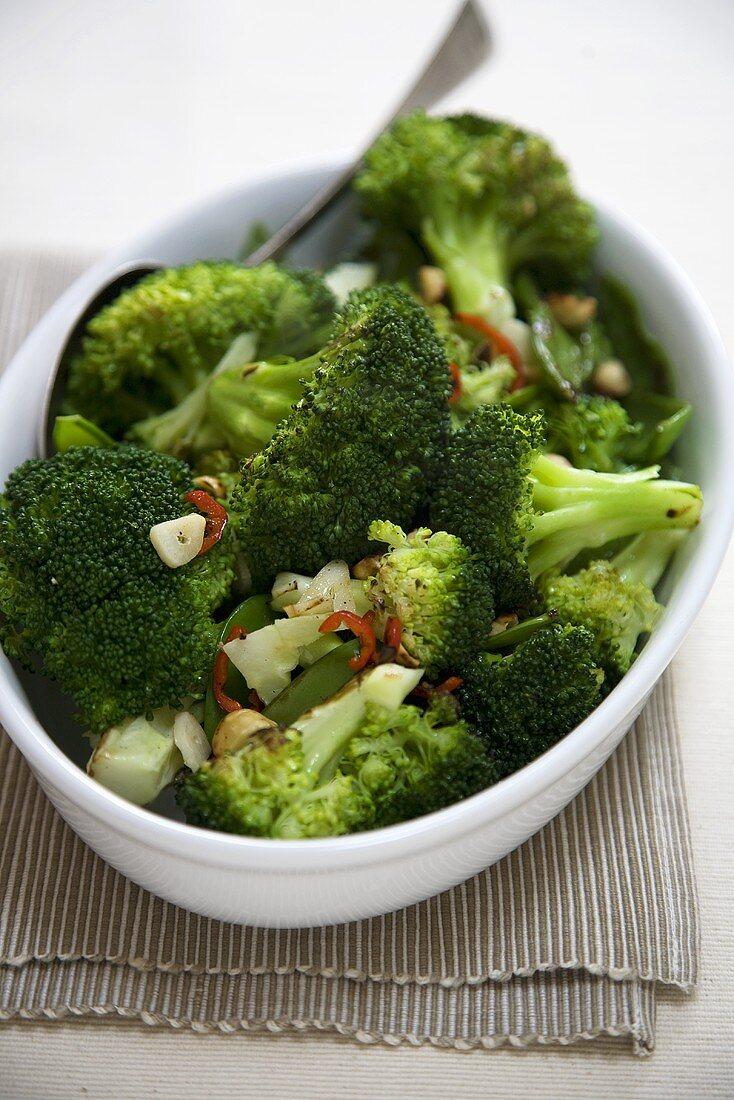 Chili Broccoli in Serving Dish