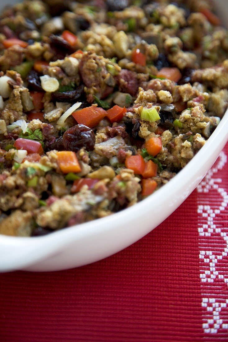 Christmas Stuffing in Serving Dish