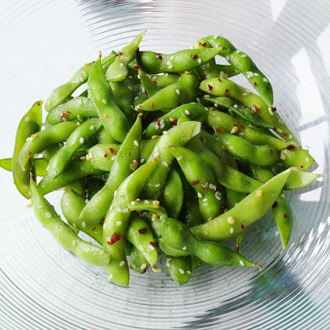 Sauteed Edamame Beans with Sesame and Red Pepper