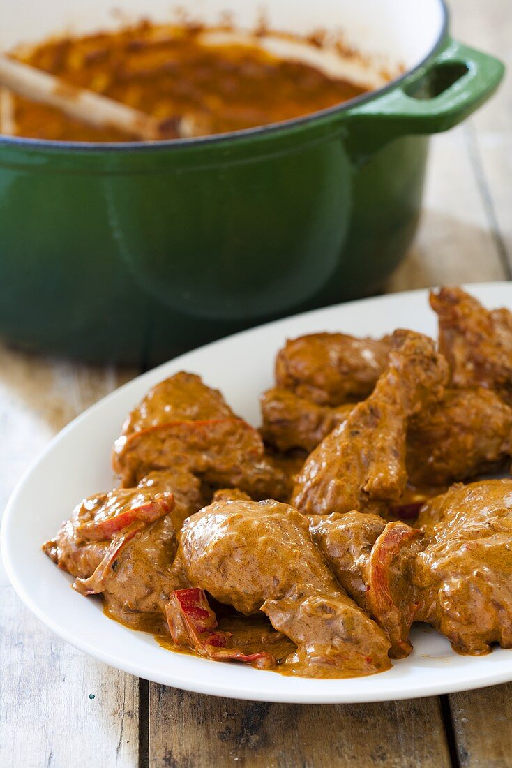 Chicken paprikash (Chicken with peppers, Hungary)