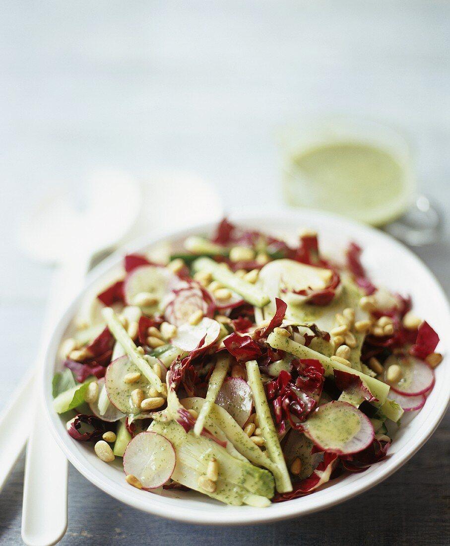 Radish and Raddichio Salad with Pine Nuts