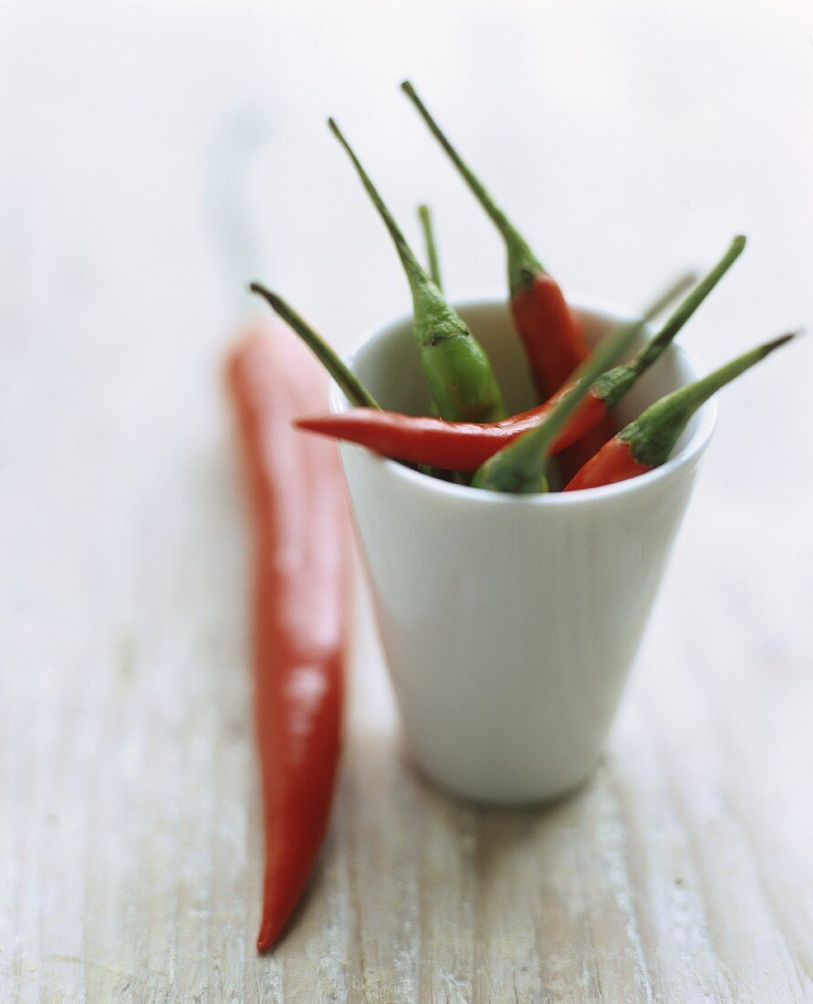 Chili Peppers with Stems in a White Bowl