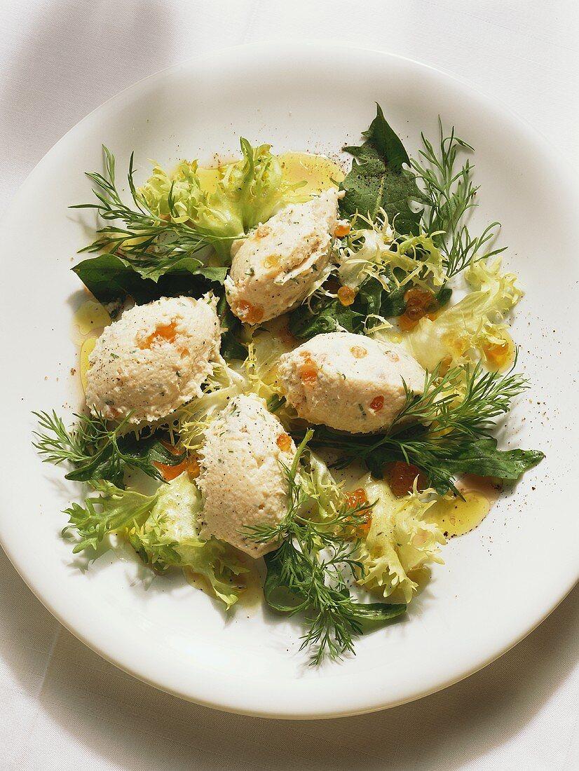 Smoked Fish Dumplings on small Salad