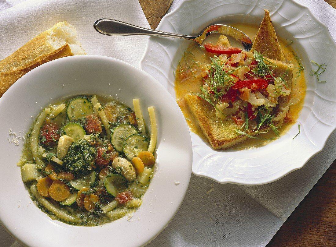 Acquacotta & Minestrone (Zwei Gemüsesuppen, Italien)