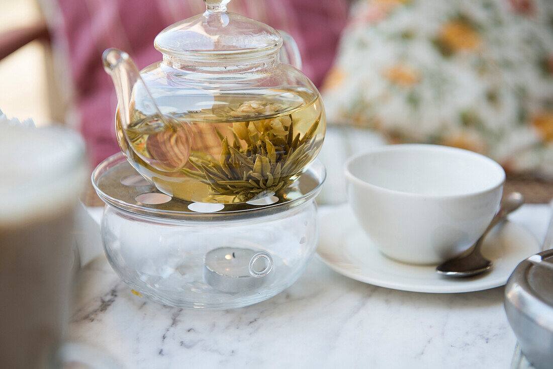 Close up of tea steeping in teapot