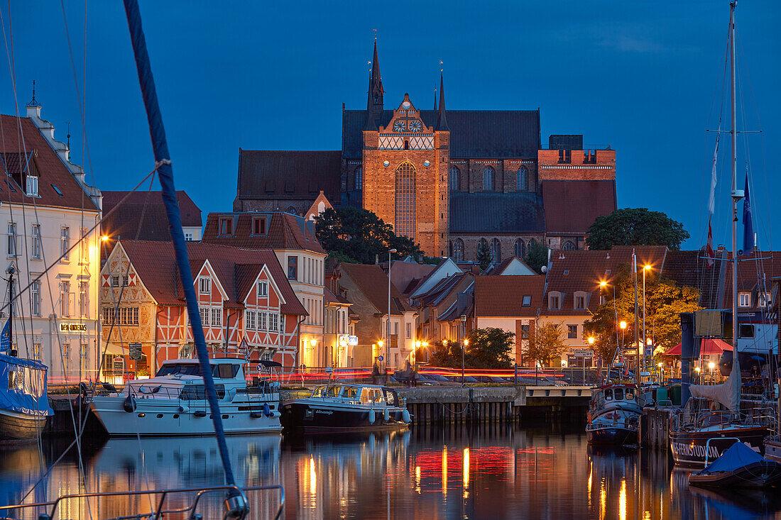 Wismar, old harbor with St. George's Church, Georgenkirche, Mecklenburg Vorpommern, Germany