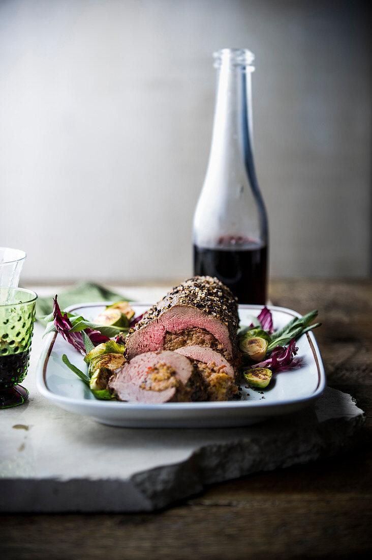 Beef tenderloin and red wine