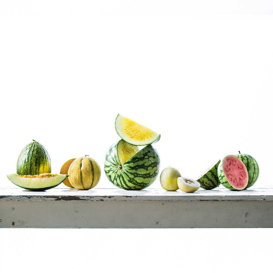 Sliced melons on table