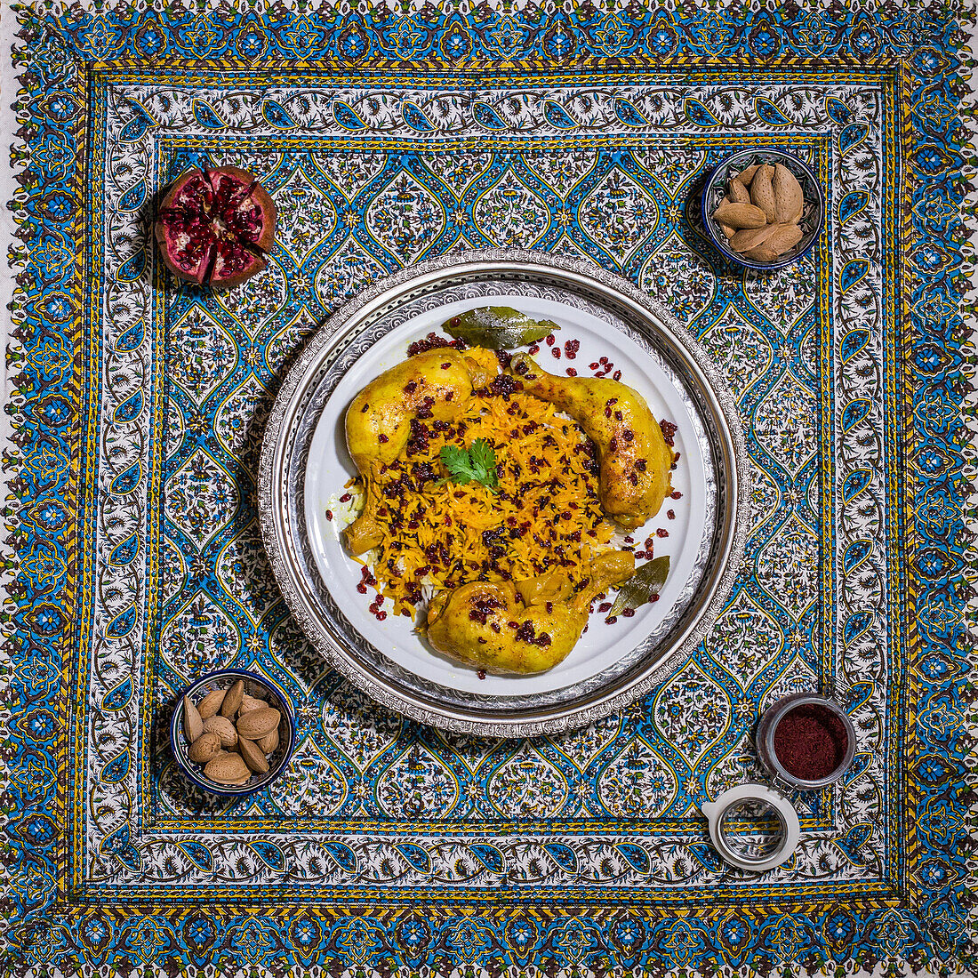 Chicken with safran rice and barbarry, iranian shirin polo, Iran