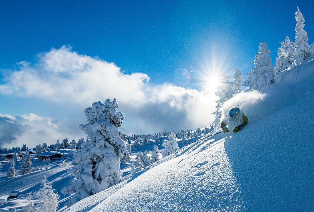 January, winter, skiing, skiing, deep snow, powder, Hochzillertal, Tyrol, winter sports, masses of snow