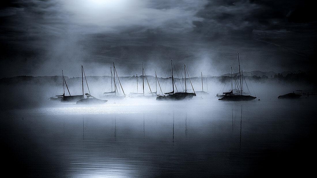 Boote im Hafen von Seeshaupt im Morgennebel, schwarzweiss, Bayern, Deutschland