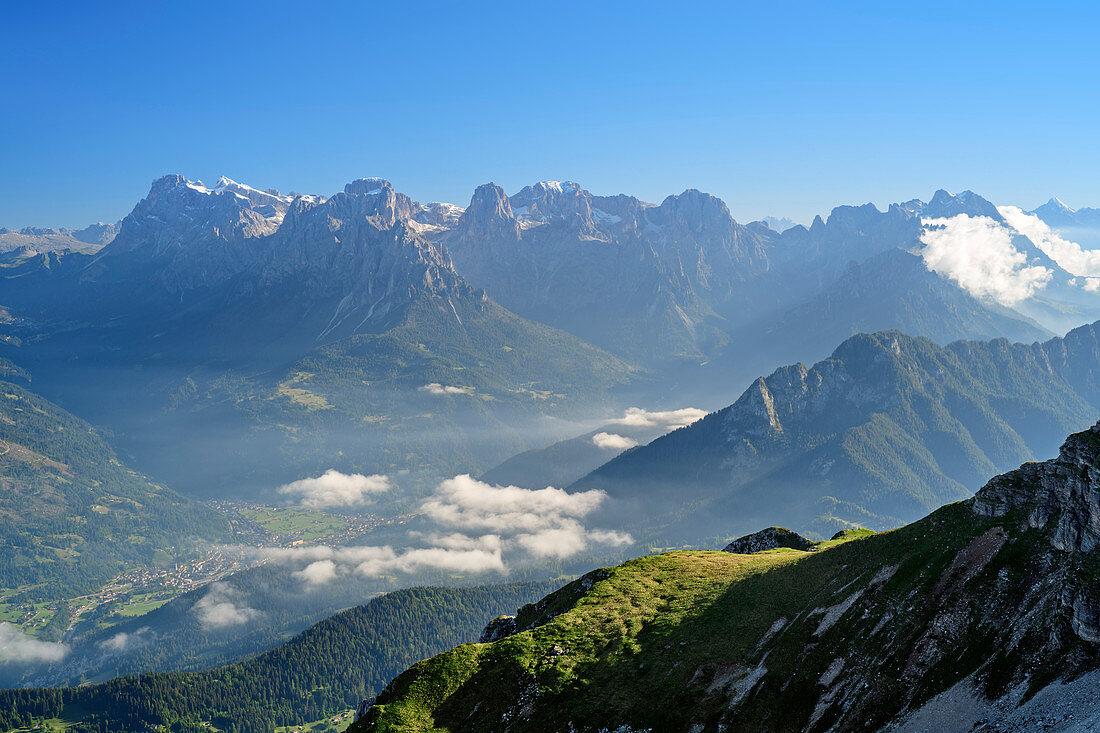 Blick auf Palagruppe, vom Monte Pavione, Belluneser Dolomiten, Venezien, Venetien, Italien
