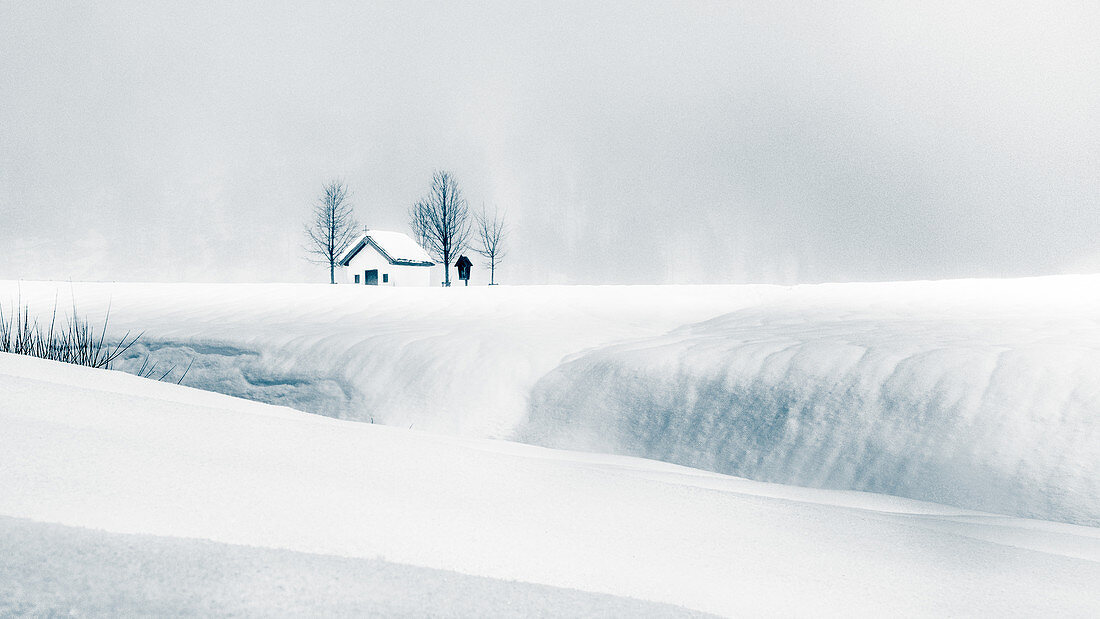 Chapel in winter landscape, Pertisau, Austria