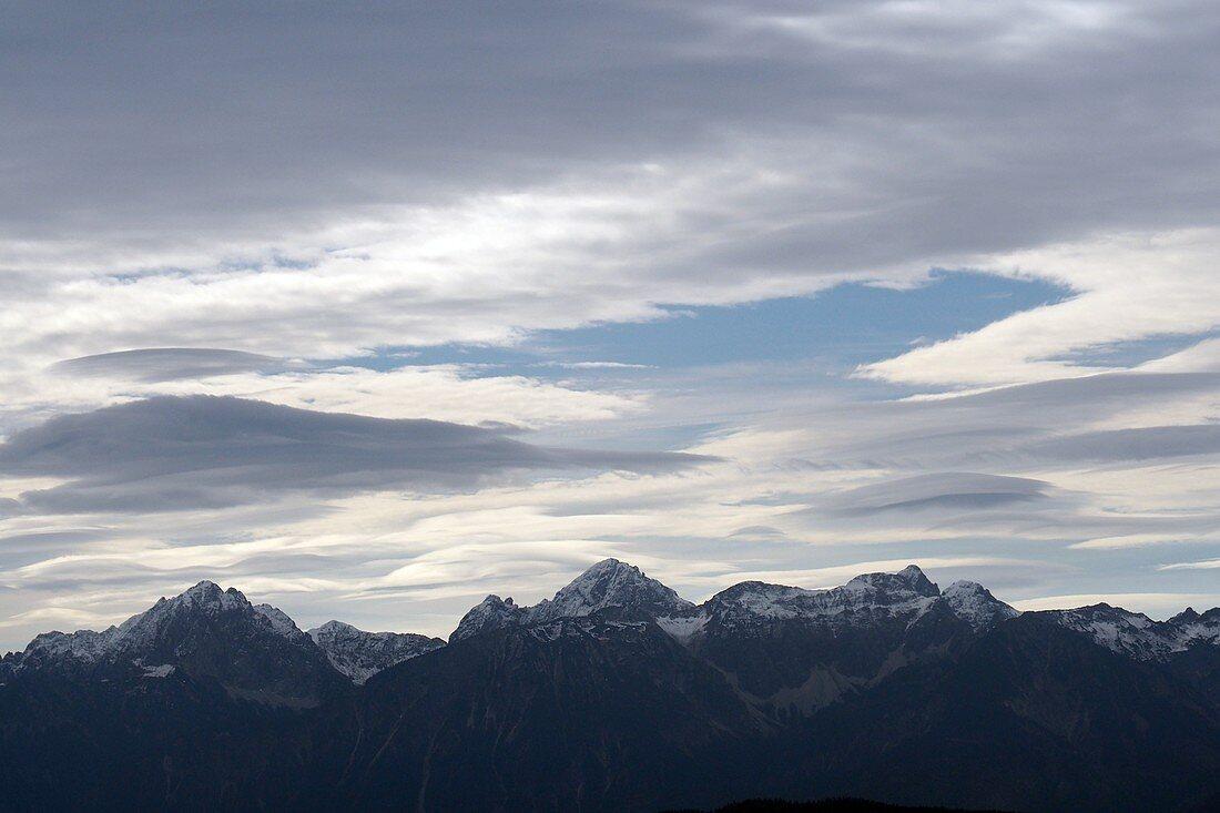 Blick vom Auerberg auf die Allgäuer Berge, Ost-Allgäu, Schwaben, Bayern, Deutschland