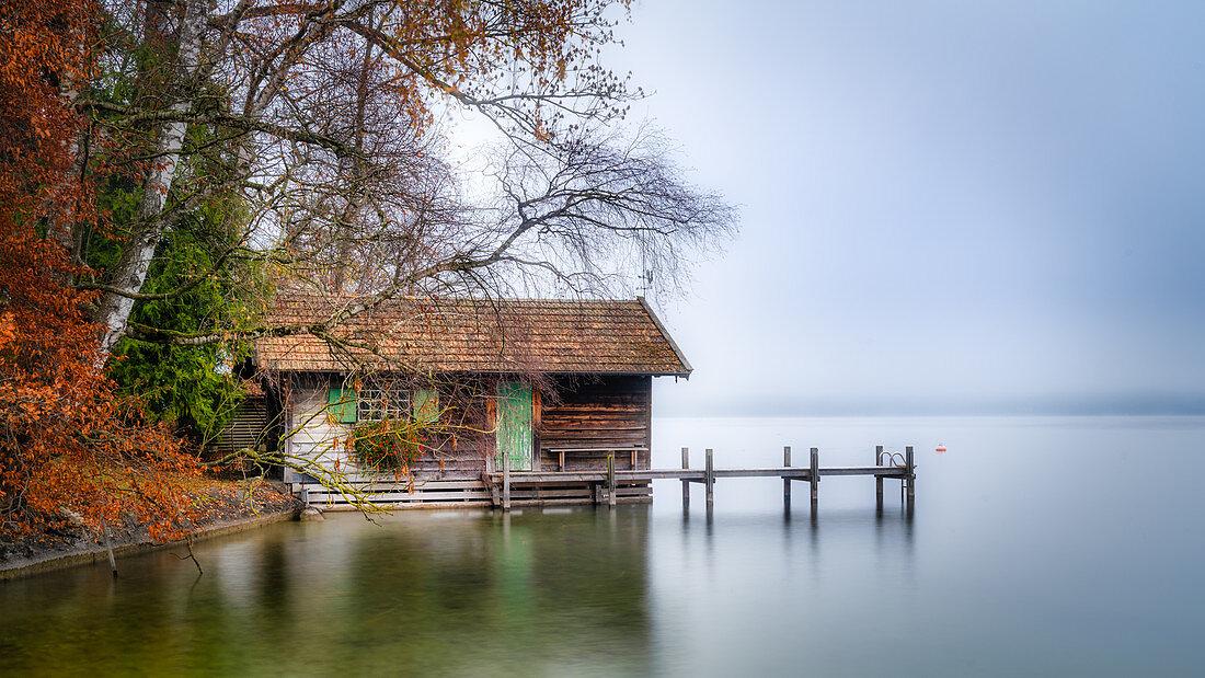 Bootshütte im Herbst bei Morgennebel am Starnberger See, Garatshausen, Bayern, Deutschland